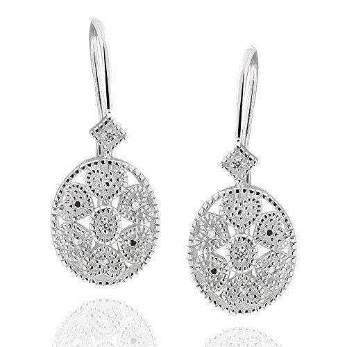 Sterling Silver Round Diamond Accent Leverback Earrings