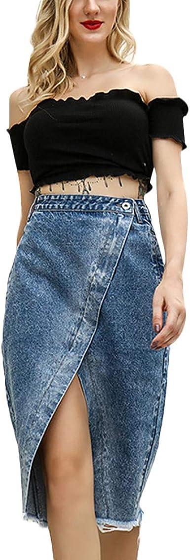 Amazon Com Falda De Mezclilla De Cintura Alta Para Mujer Con Falda Dividida Lapicera Faldas Bodycon Vestido Hasta La Rodilla Pantalones Vaqueros Faldas Clothing