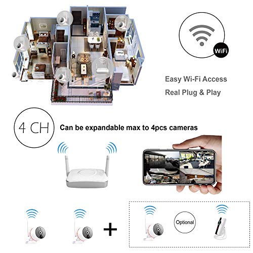 Remote Home Monitoring Security Camera System Wireless, 2pcs Wi-Fi