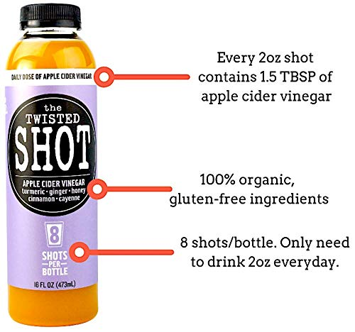 The Twisted Shot - 16oz bottle (2-PACK) - Daily shot of Apple Cider Vinegar with Turmeric, Ginger, Cinnamon & Cayenne - 100% Organic - 8 shots/bottle