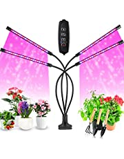 Grow Light for Indoor Plant, Chefic 4 Head Plant Light Auto Timer 10 Adjustable Level 3/9/12H LED Grow Light for Potted, 40W 360 Degree Adjustable Gooseneck Plant Light with Clip