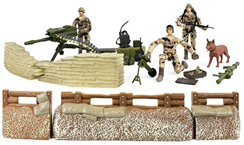 Click N' Play Military Trench Defense Unit Play Set, 25-Pieces