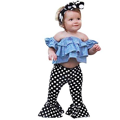 Polka Dot Denim Pant - Moonker Toddler Baby Girls Outfits Off-Shoulder Denim Tops + Flares Polka Dot Pants Clothes Set (Blue, 12-24 Months)