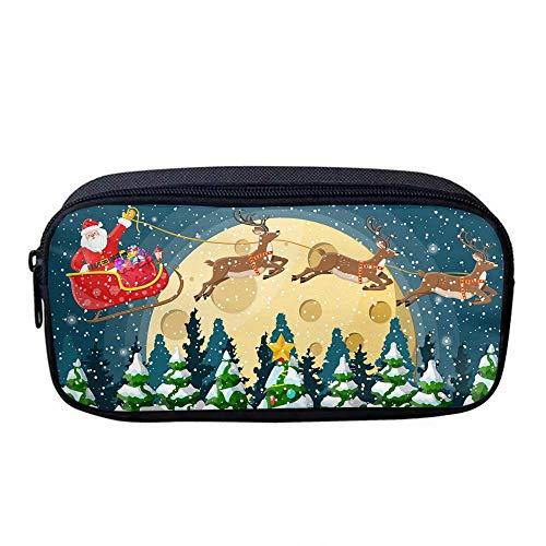 Pencil Bag Pen Case Travel Bag Makeup Organizer Bag Multi-Functional Reindeer in Forest Oxford Cloth Pouch Zipper Bag for Pens, Makeup Bag