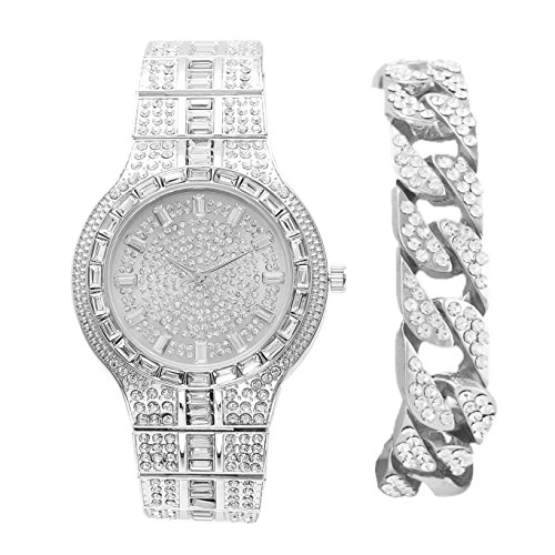 (Miami Silver Cuban Iced Out Bracelet with Matching Iced Out Hip Hop Bling Bling Mens Watch - 8645B Silver Cuban)