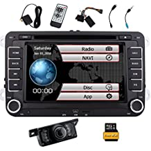 Free Reversing Camera + EinCar Double Din 7 Inch Car Stereo Radio DVD GPS Nav CD Player In Dash Bluetooth Touch Screen Head unit for VW Passat t5 Golf MK5 Jetta with 8GB Map Card
