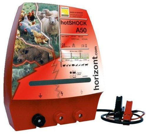 Elektrozaungerät hotSHOCK A50 mit 3 Anschlüssen *UV-geschützt, vollisoliert, spritzwassergeschützt*