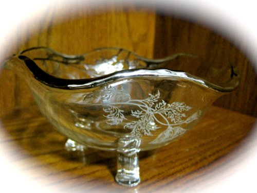 Vintage 1950's Duncan Miller Footed Glass Bowl with Silver Flower Overlay and Edging (6