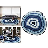 Bedroom Styles Creative Modern Simple Round Area Rug Rural Style Design Bedroom Rug Bedside Rugs Cozy Living Room Carpet Non-slip Kids Rug (Diameter39.3inches, Blue)
