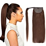 18'' Straight Wrap Around Ponytail Human Hair Extensions for Women 100gram Chocolate Brown #4