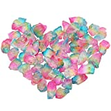 mookaitedecor 1/2 lb Titanium Coated Natural Rough Rock Crystal Quartz Raw Stones for Wire Wrapping, Polishing, Tumbling, Reiki and Wicca, Pink & Yellow & Blue