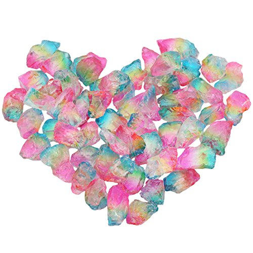 mookaitedecor 1/2 lb Titanium Coated Natural Rough Rock Crystal Quartz Raw Stones for Wire Wrapping, Polishing, Tumbling, Reiki and Wicca, Pink & Yellow & Blue by mookaitedecor