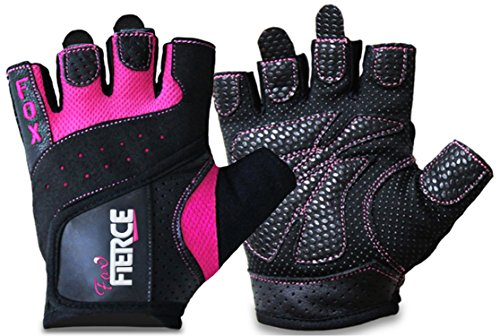Womens Weighlifting Gloves plus FREE Padded Figure 8 Lifting Straps for Powerlifting-Gym-Crossfit-Weight (Fox Purple Glove)