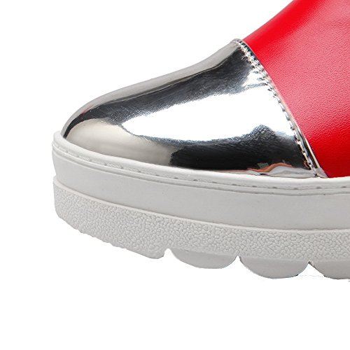 Red WeiPoot On Heels Shoes Women's Closed Toe Color Kitten Assorted Pull Pumps Round 7x4XSw7