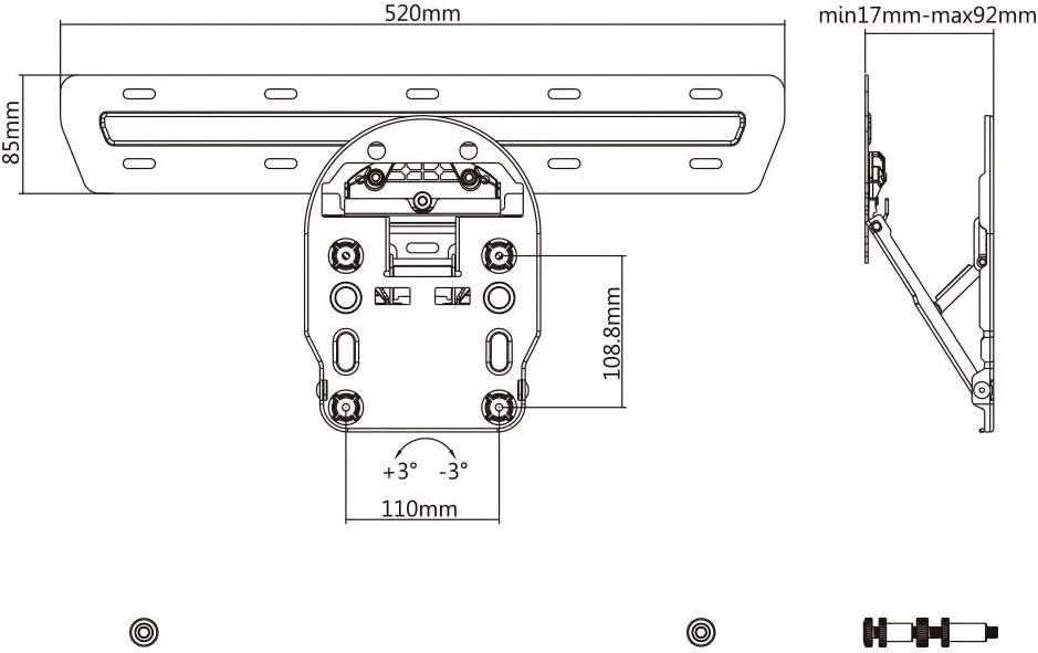 Soporte de Pared Universal OLED QLED LED LCD para TV Ultra Slim ...