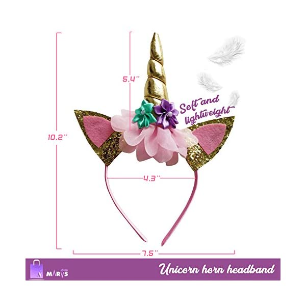 Marvs Store Unicorn Birthday Girl Set of Gold Glitter Unicorn Headband and Pink Satin Sash for Girls with eBook included… 5