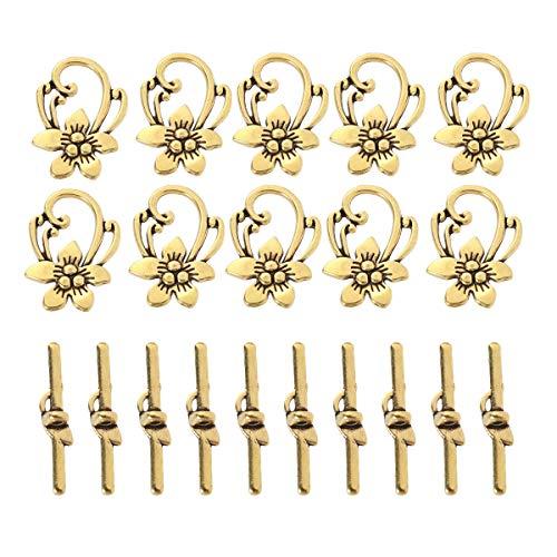 SUPVOX 20pcs Vintage OT Toggle Clasps Toggle Connector Set Jewelry Bracelet Clasp Connector (Golden)