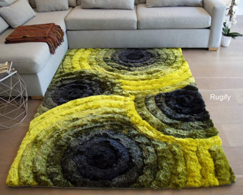 LA Shag Shaggy Fluffy Fuzzy Furry Flokati 3D Soft Plush Modern Contemporary Thick Pile Decorative Designer 5-Feet-by-7-Feet Polyester Made Area Rug Carpet Rug Yellow Black Gray Grey Colors