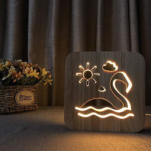 Flamingo Madera En Creativa Artesanía Luz Nocturna 3d PkuXZi