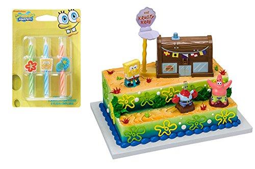 Decopac Spongebob Krusty Crab Cake Topper Decoset & Candles Bundle]()