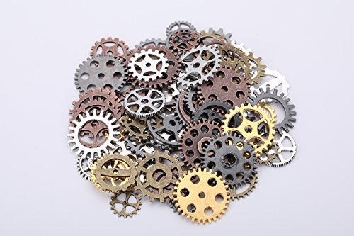 Antique Gold Button (I-MART Antique Steampunk Gears Charms Buttons Pendant Clock Watch Wheel Gear for Crafting, Custom, Jewelry Making Accessory (Approx 80 Pcs (3.52 oz) - Assorted Color))