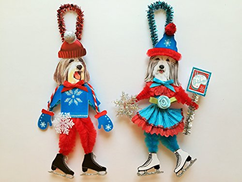 Bearded Collie ICE SKATER Christmas ornaments holiday dog ornaments vintage style chenille ORNAMENTS set of 2
