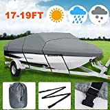 Waterproof Heavy Duty Outdoor Boat Cover for 17-19ft Ship with Carrying Bag(Gray)