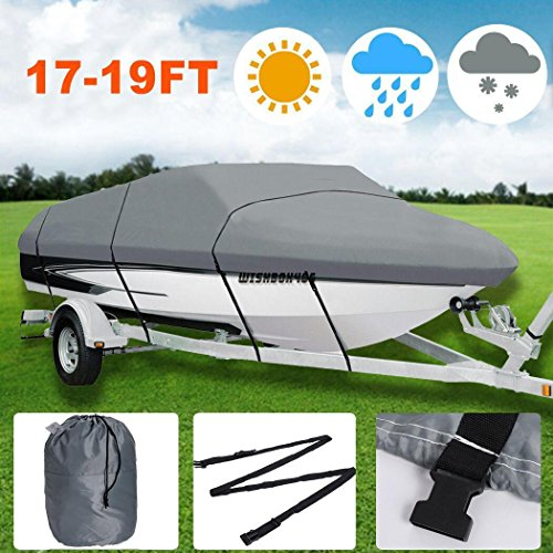 Waterproof Heavy Duty Outdoor Boat Cover for 17-19ft Ship with Carrying Bag(Gray) (Covers Boat Crestliner)