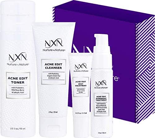 NxN Acne Treatment 4-Step Clear Skin System with Probiotics, Natural Multi-Fruit Extracts and Salicylic Acid for Acne Blemishes and Breakouts For all Skin Types (Including Sensitive Skin)