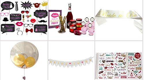 Classy Bachelorette Party Decorations set-Supplies & personalized Digital labels kit | Sash,Bride to be Banner, Tattoos & more | printable files pack-photo booth,cupcake topper,bottle wrapper & more
