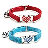 WZPB 2 Set Soft Velvet Cute Cat Adjustable Cute Collar with Crystal Heart Charm and Bells (Green+Red)