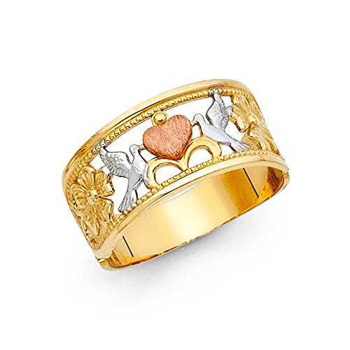 Love Birds Ring 14k Yellow White Rose Gold Two Doves Holding Heart Band Fancy Tri Color 9MM, Size 8.5
