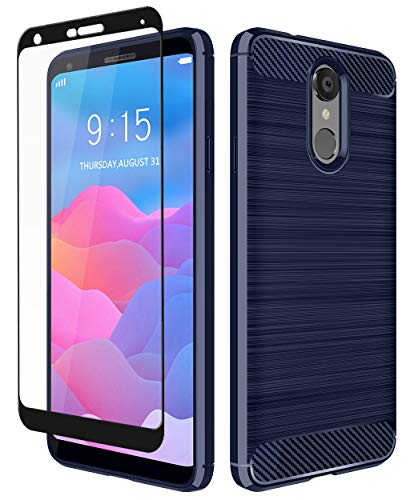 LG Q7+ Case, LG Q7 Case, Aoways Tempered Glass Screen Protector, Thin Texture Carbon Fiber Shockproof Soft TPU Lightweight Protective Cover for LG Q7 Plus- Navy Blue