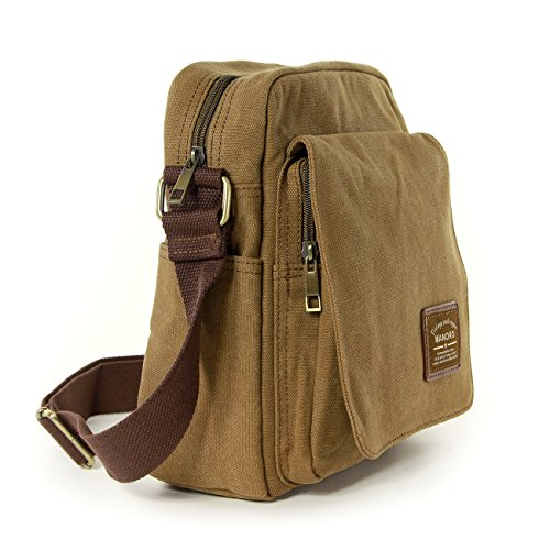 Umhängetasche Canvas khaki, braun Crossover Messenger Bag Schultertasche quer zu tragen Manoro® Vintage and Vogue OTK218N