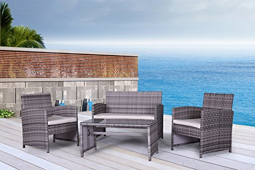 The Bora-Bora Collection – 4 Pc Outdoor Rattan Wicker Sofa Patio Furniture Set. Choice of Set Cushion Color Mixed Grey Ivory Cushions