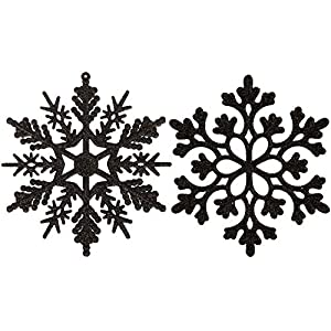 Sea Team Plastic Christmas Glitter Snowflake Ornaments Christmas Tree Decorations, 4-inch, Set of 36, Black