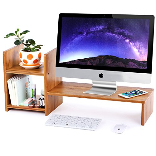 2 Tier Riser (SONGMICS Bamboo Monitor Stand Computer Riser with 2-tier Desktop Storage Desk Organizer for Home Office Natural ULLD206)