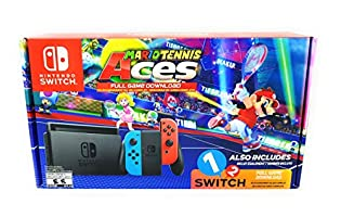 Nintendo Switch System, Neon Blue & Neon Red with Mario Tennis Aces & 1-2-Switch