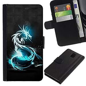 All Phone Most Case / Oferta Especial Cáscara Funda de cuero Monedero Cubierta de proteccion Caso / Wallet Case for Samsung Galaxy Note 3 III // Blue Shine Tribal Dragon