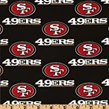 NFL Cotton Broadcloth San Francisco 49ers Black/Red Fabric By The Yard