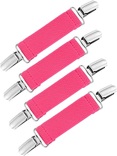 (Chengu 4 Pieces Strong Stainless Steel Mitten Clips Elastic Gloves Caps Clips for Baby and Kids (Rose Red))