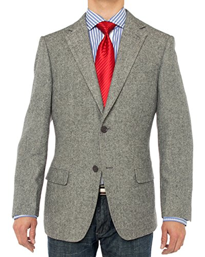 LN LUCIANO NATAZZI Men's Luxurious Camel Hair Blazer Modern Fit Suit Jacket (50 Long US / 60 Long EU, Gray Herringbone)