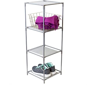 Home Basics Multi-Purpose Free-Standing 3 Cubed Organizing Storage Open Shelving Unit – Slip Resistant Coating, Non-Woven Fabric Shelf Lining for Bathroom, Bedroom, Living Room, Kitchen, Grey