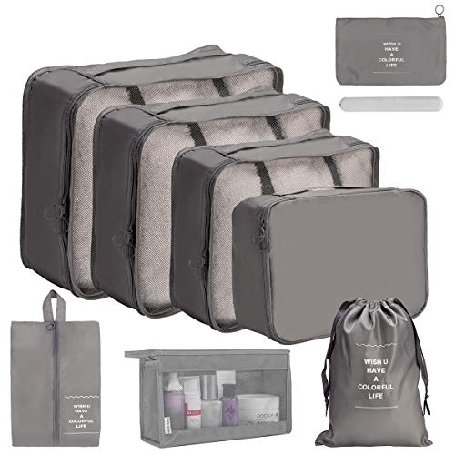 OrgaWise Packing Cubes for Travel Organizer 9 Pcs Luggage Suitcase Waterproof Organizers - 4 Travel Cubes + 1 Pouches + 1 Shoe Bag+1 Cosmetic bag+1Drawsting Bag+1 Toothbrush Box (9 Pcs Light Gray)