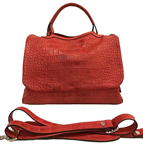 ESSE MEDIA Pelle Drillo Colore Rosso A Mano A Spalla A Tracolla Regolabile Rimovibile 36 x 25 x 18 cm