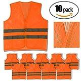 SVR, 10 Pack, Orange Reflective Safety Vest, Silver Strip (Orange Mesh, 10)