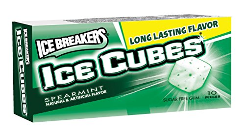Sugar Free Gum 10 Piece (Ice Breakers Ice Cubes Sugar Free Gum, Spearmint, 10-Piece Boxes (Pack of 16))