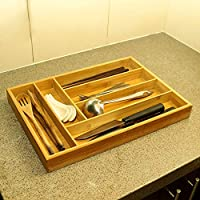 YATAI Bamboo Cutlery Tray & Utensil Organizer For Kitchen Drawers - 6 Compartments Cutlery Holder For Silverware & Cookin...