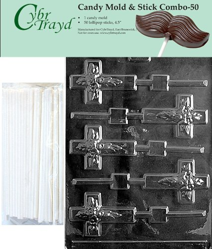 Cybrtrayd Cross Lolly Chocolate Candy Mold with 50 4.5-Inch Lollipop Sticks and Exclusive Cybrtrayd Copyrighted Chocolate Molding Instructions