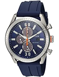 Citizen Mens Drive Quartz Stainless Steel and Polyurethane Casual Watch, Color:Blue (Model: CA0661-01L)